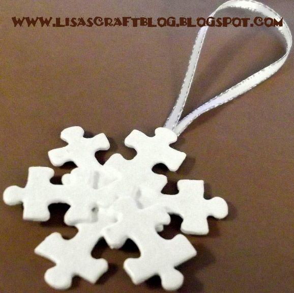 artesanias navidad piezas puzzle, copo de nieve - DIY Navidad con niños