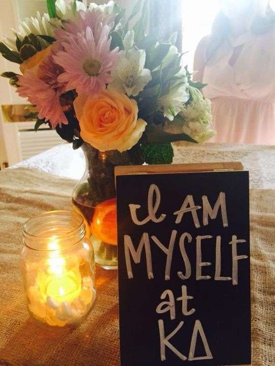 have girls write their favorite thing about being dphie and use them as table decorations.. so cute