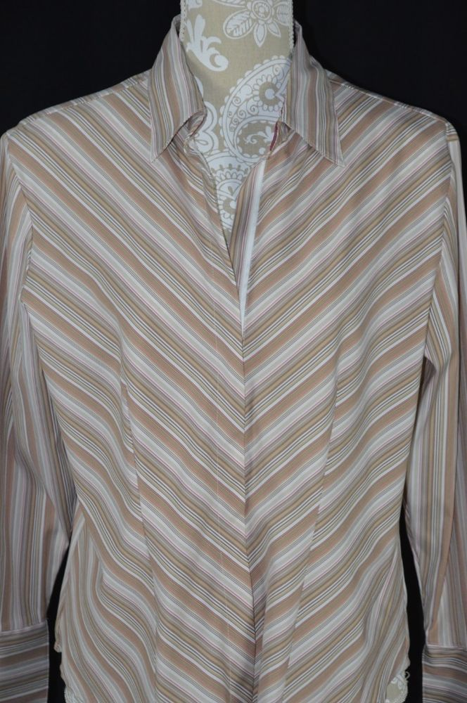 DCC Women Missy Large Beige Neutral Striped Fitted Full Zip Up Shirt Long Sleeve #DCC #ButtonDownShirt #Casual
