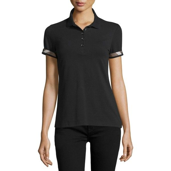 Burberry Slim-Fit Polo Shirt with Check Trim ($195) ❤ liked on Polyvore featuring tops, black, slimming tops, burberry, short sleeve pullover, short sleeve tops and polo pullover
