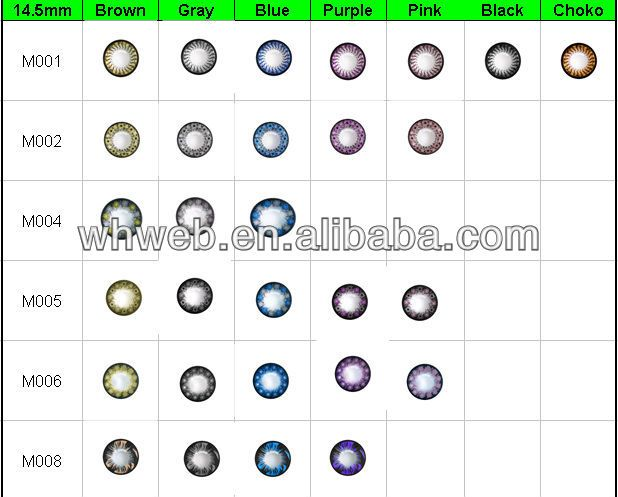 wholesale circle big eye contact lenses /cosmetic 3tone soft eye soft contact lens