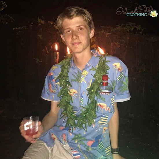 Happy 18th Birthday celebrating in Hawaii. In our Flamingo Palms  Hawaiian Shirt & Green Weed Lei. #partyshirt #flamingoshirt #hawaiianshirt #schoolies