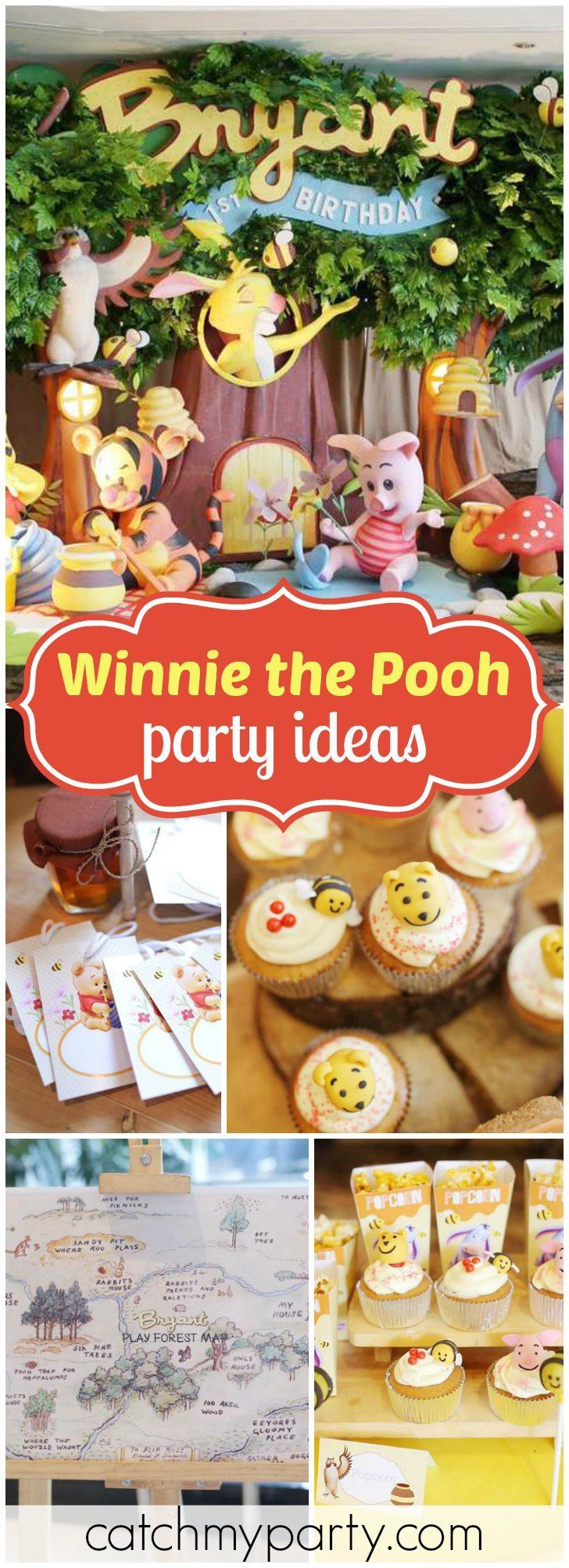 You have to see this fantastic Winnie the Pooh birthday party! See more party ideas at CatchMyParty.com!