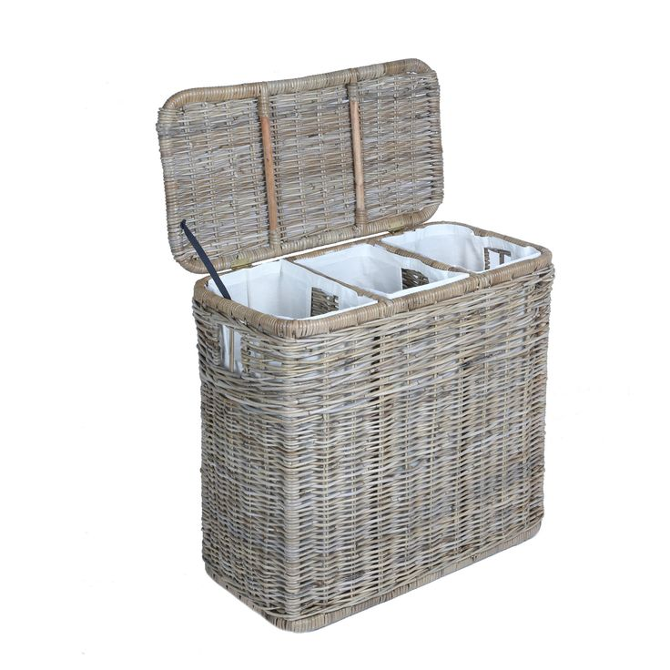 3-Compartment Kubu Wicker Laundry Hamper in Serene Grey with lid open | The Basket Lady