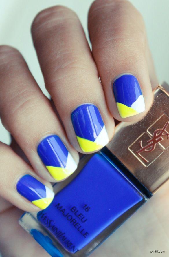 YSL Bleu Majorelle: Yellow Nails, Nails Art, Nails Design, Cobalt Blue Nails, Summer Nails, Blue Yellow, Neon Nails, Chevron Nails, Neon Yellow