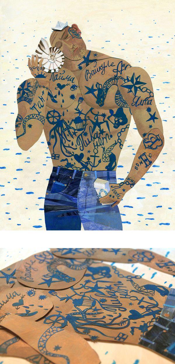 Sailors on Illustration Served Love the tattoos!