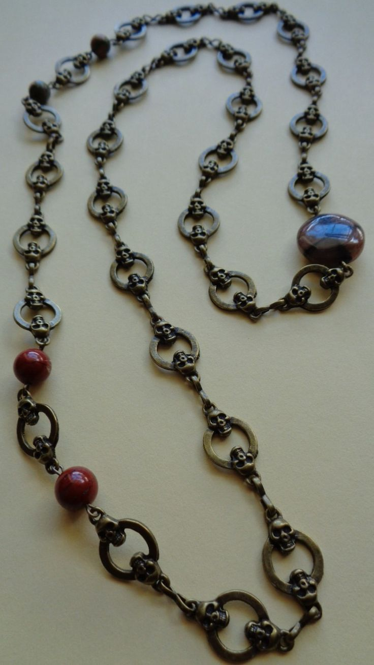 """Collier """"Renaissance"""" en métal couleur bronze et Chiastolite, Jaspe rouge et Unakite : Collier par clairedelune68"""