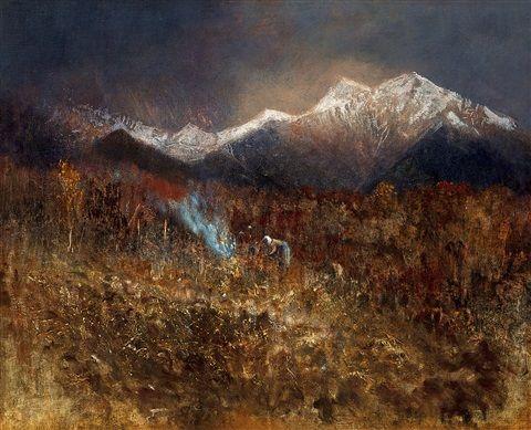Builiding a Fire In the Tatras by LászlóMednyánszky