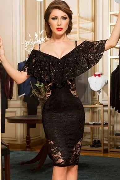 Likralı Kumaşı Özel Tasarımı ve Dekoltesi ile Rahat ve Şık Özel Davetlerde En Gözde Bayan Olacağınız Düşük Omuz Siyah Elbise