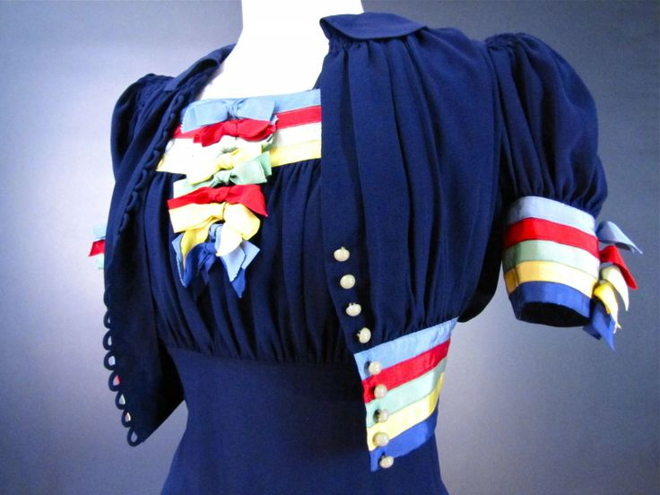 1930's - 1940's dress and jacket with multicolored trim.: 1940S, Swings, Dresses, Wwii Era, Jackets, Sail Away, Swing Dress