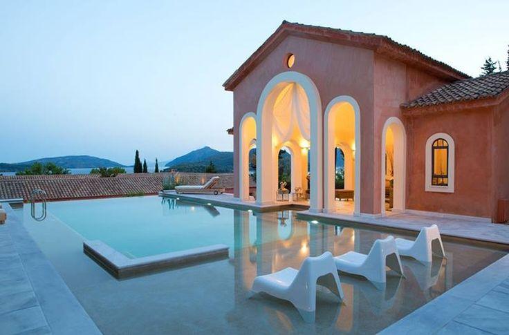 Spending a long and cosy evening at Villa Veneziano, Lefkada Greece