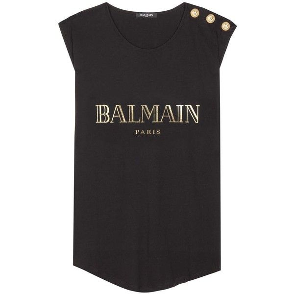 Balmain Printed Cotton Tank Top ($230) ❤ liked on Polyvore featuring tops, black, short sleeve tops, balmain top, cotton singlet, cotton tank tops and balmain