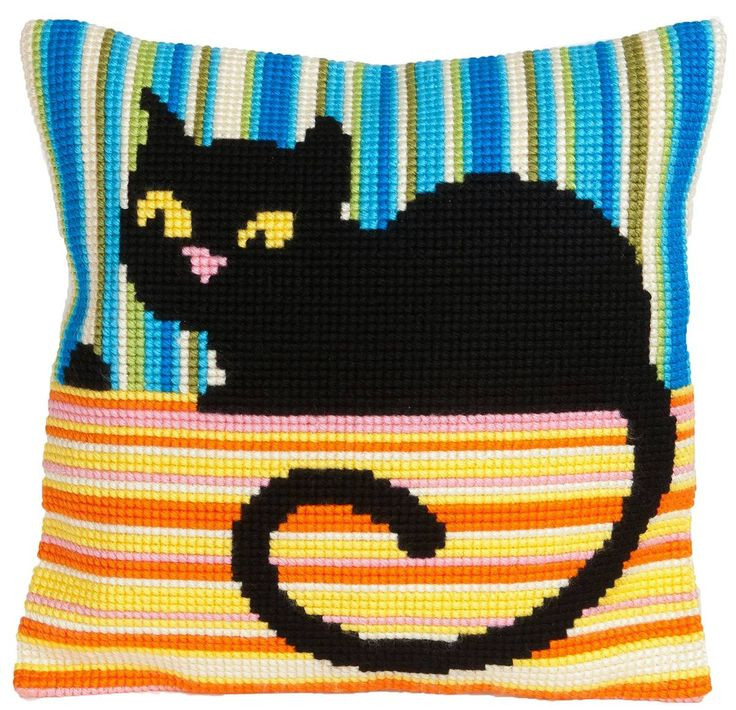 Ms Cool Cross Stitch Cat Cushion Panel Kit - £20.95 on Past Impressions | by Collection D'Art