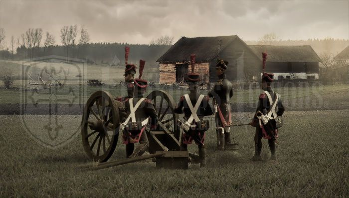 REAL CANVAS PRNIT FRENCH NAPOLEONIC ARTILLERY LANDSCAPE 54MM #Realism