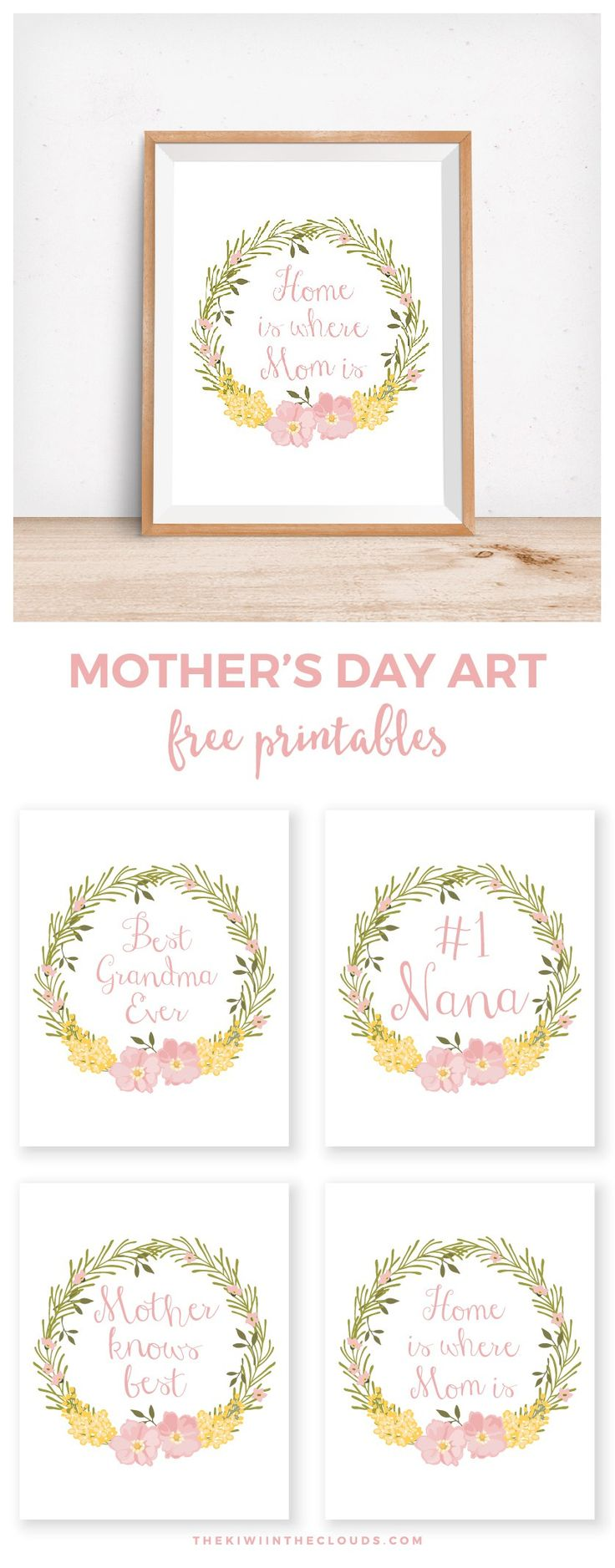 Mother's Day Free Printables | Click through to download 4 FREE 8x10 mother's day prints for mom, grandma and nana!