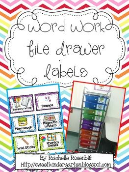 Word Work File Drawer Labels {Freebie}  These labels might have helpful ideas for what to do in word work