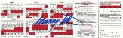 MANNY MOTA HAND SIGNED 1993 RED SOX SCHEDULE ~JSA COA~ . $20.00. MANNY MOTA HAND SIGNED 1993 BOSTON RED SOX SCHEDULE ~AUTOGRAPHED~JSA COA~ Photo Description 1993 BOSTON RED SOX BASEBALL SCHEDULE HAND SIGNED BY MANNY MOTA. ITEM SHOWN IS ACTUAL ITEM WINNING BIDDER WILL RECEIVE. CLICK ON PHOTOS FOR CLEARER AND LARGER IMAGES. AUTOGRAPH AUTHENTICATED BY JSA (JAMES SPENCE AUTHENTICATION), WITH NUMBERED JSA AUTHENTICATION STICKER ON ITEM, AND MATCHING NUMBERED JSA CERTIFICA...