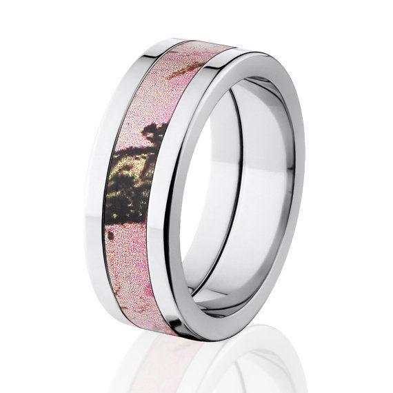 NEW 8MM Flat Branded Mossy Oak Titanium Ring Pink Break Up Pattern On Etsy