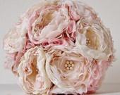 Fabric Flower Bouquet, Fabric Wedding Bouquet, Weddings, Vintage Bridal Bouquet,,  Wedding Bouquet,  Gray Roses. $160.00, via Etsy.
