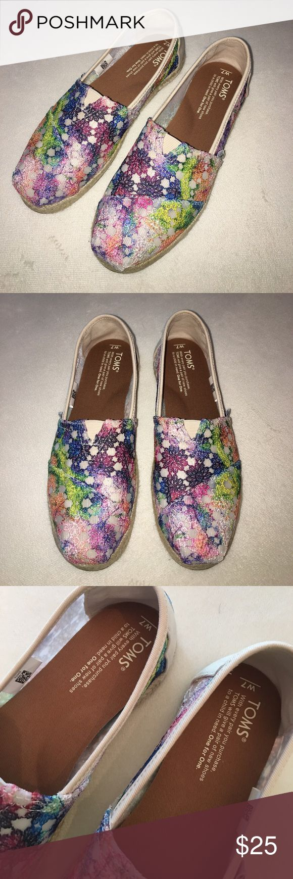 """NEW TOMS MULTI TIE DYE CROCHET WOMEN'S ESPADRILLES New without tags! With their bright crochet tie dye upper, these Classic Alpargatas add a little pop to any outfit. The molded insole provides all-day comfort. Multi tie dye crochet upper Traditional Alpargata style with elastic """"v"""" for easy fit Vegan Molded removable insole, cotton twill sock liner that fights bacteria Natural jute rope sole TOMS Exclusives only available on TOMS.com Toms Shoes"""