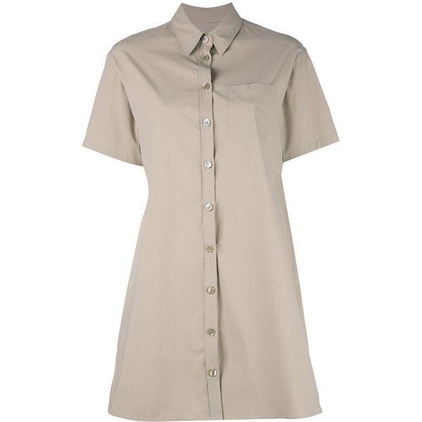 Boutique Moschino shirt dress (7.915.875 IDR) ❤ liked on Polyvore featuring dresses, nude, boutique moschino, shirt dress, long shirt dress, nude dress and boutique moschino dress