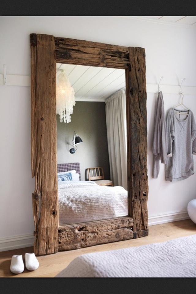 Wooden mirror Love