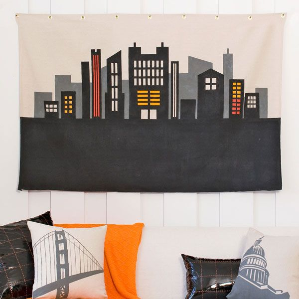 Stenciled city scene wall art: Stencil Canvas, Cityscapes Stencil, Creative Ideas, Diy Art, Canvas Art, Lowescreativeidea Stencil, Canvas Wall Art, Art Projects, Drop Clothing