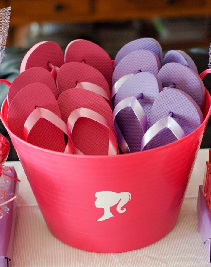Have a fun girls pedicure party. Inexpensive flip flops from old navy a stake home gift