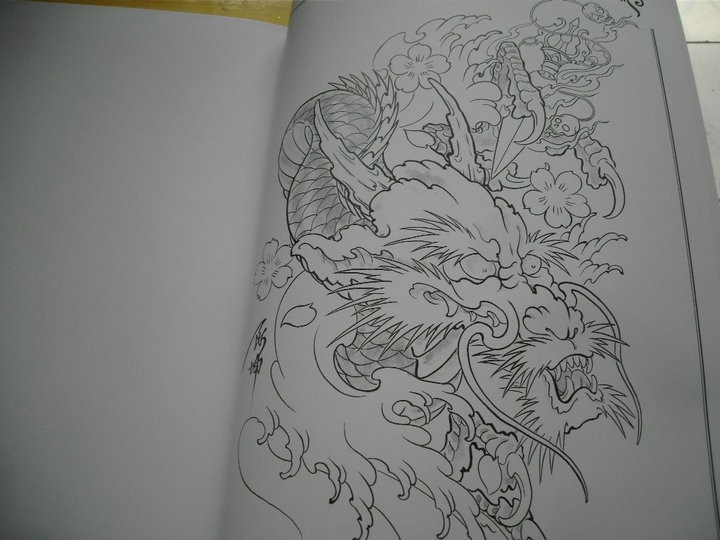 Details about top tattoo flash japanese style sketch book for Dragon koi for sale