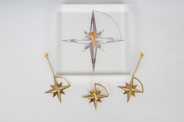 Compass Star Broach and Earrings in Gold plated Bronze by THE BRITELINE