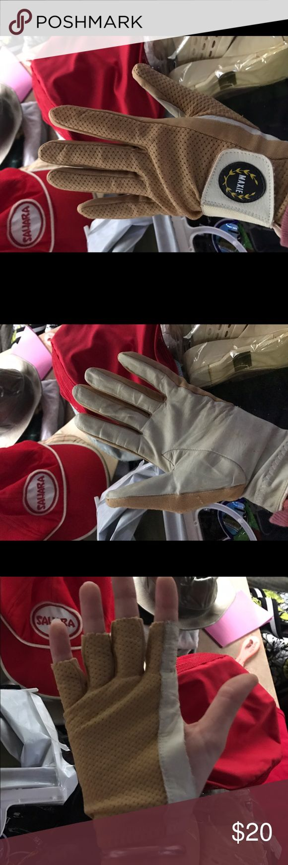 🌻Vintage🌻Golf Gloves Mustard and Cream. Vintage Gloves, I think they are golf gloves the left hand is fingerless and right is fully covered. Sweet Mustard and cream color with interesting detailing. Leather and other material(not sure) good vintage Condition.🏌🏻♀️ Vintage Accessories Gloves & Mittens