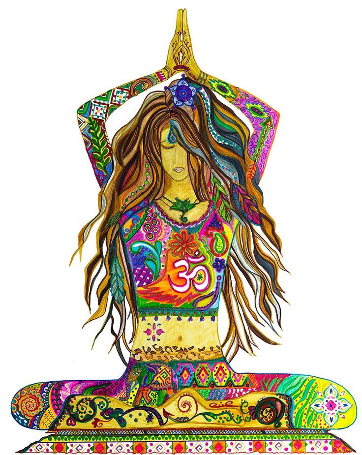 Yoga Pose Painting, Unframed Canvas Print, Bohemian Style ...
