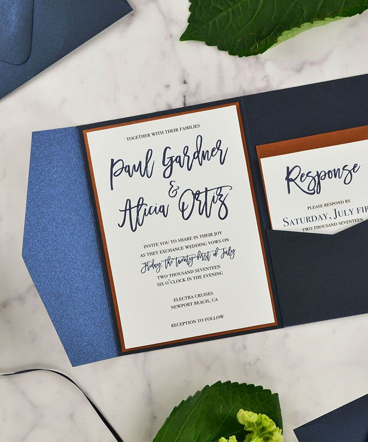 """Shiny Blue DIY Wedding Invitation supplies   A shimmery navy blue for easy wedding invitations, featuring our """"Simply Elegant"""" free invitation template, pocket envelopes, and copper accents   http://www.cardsandpockets.com/shiny-blue.aspx"""