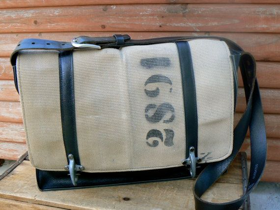 Repurposed Fire Hose  and Leather Messenger Laptop Bag on Etsy, $275.00