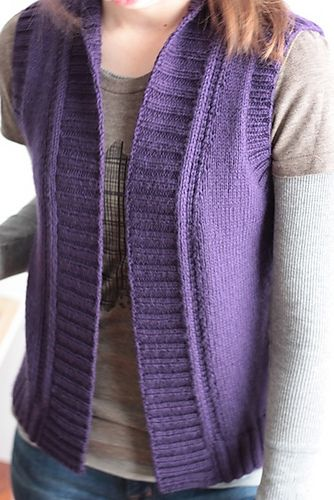 NobleKnits.com - The Brown Lilac Trail Vest Knitting Pattern, $7.95 (http://www.nobleknits.com/the-brown-lilac-trail-vest-knitting-pattern/).  Adobe & dessert