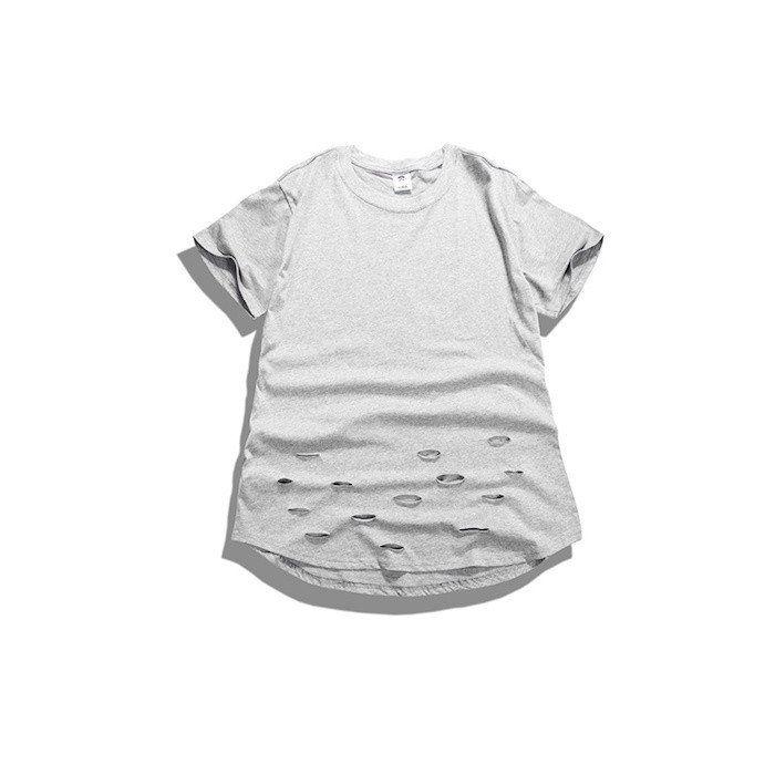 Curved Hem Distressed Destroyed Grey T-Shirt  ❌✖️️❌✖️️  longline, men's, streetwear, clothing, online shopping, street style, minimalism, supreme, snob shots, kanye west, mens fashion,