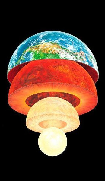 ♥ Earth layers artwork. I think someone should turn this into a bedroom lamp for kids.