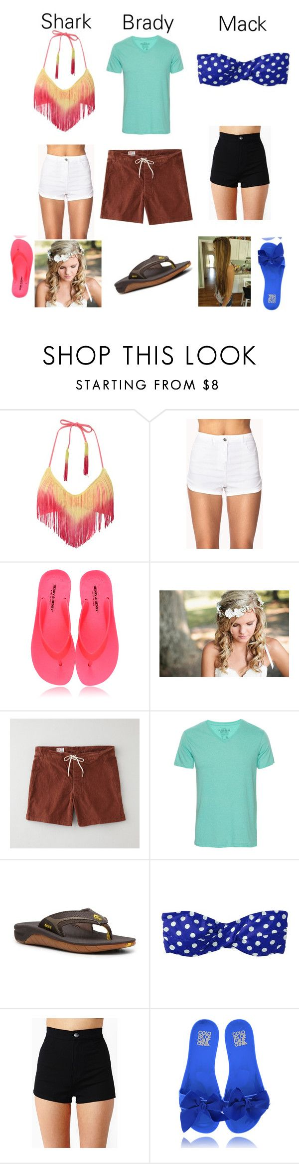 """""""wet side story"""" by mikaylalynch ❤ liked on Polyvore featuring The Bikini Lab, Forever 21, Timeless, M.NII, Pull&Bear, Reef, Mossimo and Colors Of California"""
