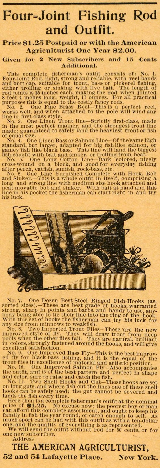 1893 black and white print ad for a subscription gift: a four-joint fishing rod and outfit from the American Agriculturist