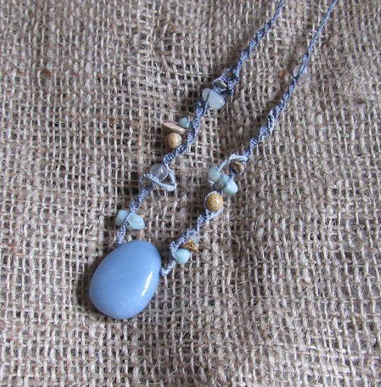 Angelite Macrame Crystal Necklace Gemstone by tinkertailoruk