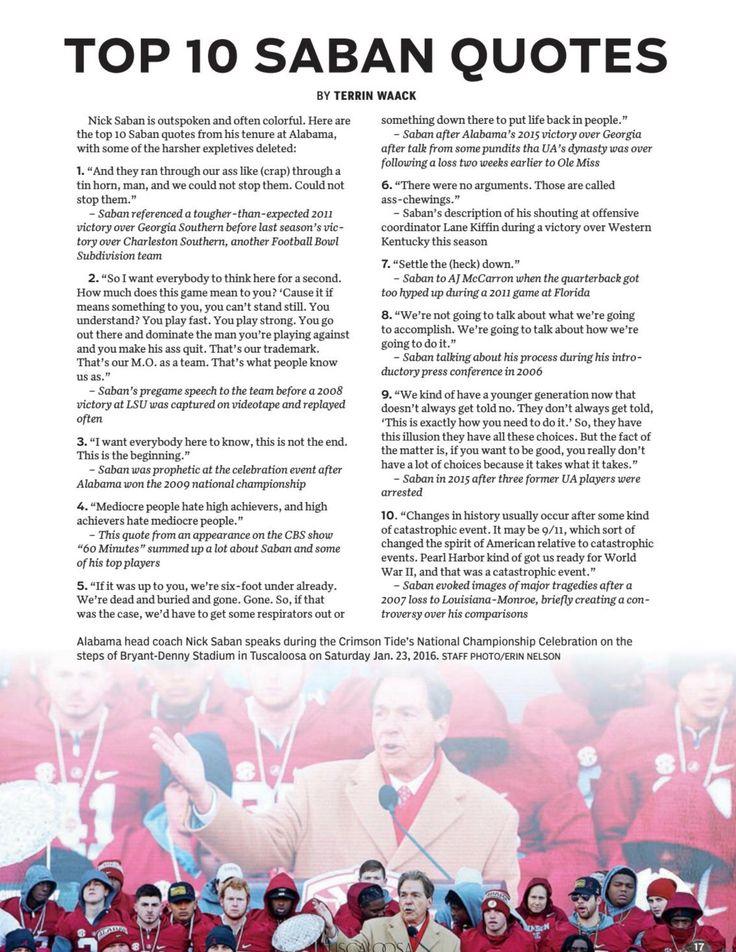 "Top 10 Nick Saban Quotes -  ""The Saban Years"" from the Tuscaloosa Magazine Special 2017 Issue by Tuscaloosa News | #Alabama #RollTide #Bama #BuiltByBama #RTR #CrimsonTide #RammerJammer #NickSaban"