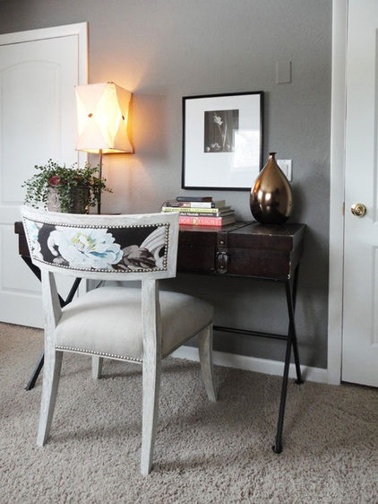 eclectic home office by Ashley Campbell Inc.Simple Desks, Eclectic Design, Desks Area, Dining Room, Desks Chairs, Small Living, Home Offices Design, Painting Chairs, Chairs Design