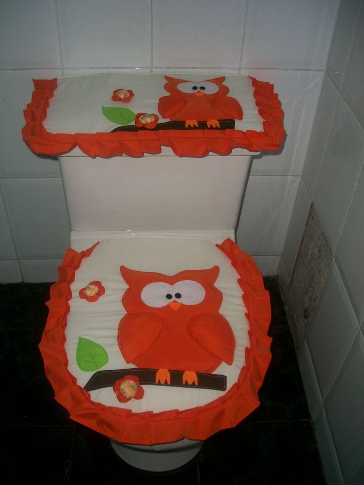 Juegos De Baño Fieltro:Mi version del búho naranja Juego de baño