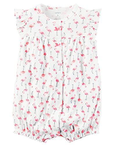 Carter's Baby Girls' Snap-Up Cotton Romper (24 Months, Flamingos)