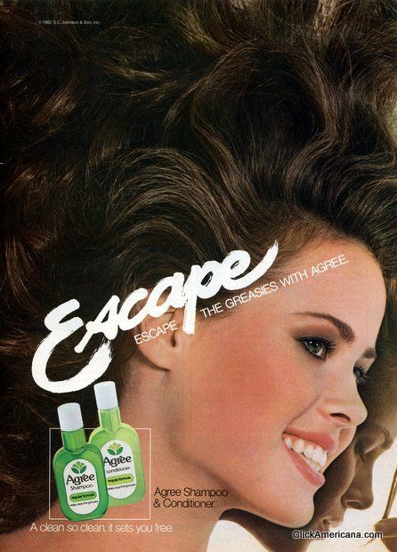 Agree shampoo advertisement - from 7 vintage shampoo ads (1980s)