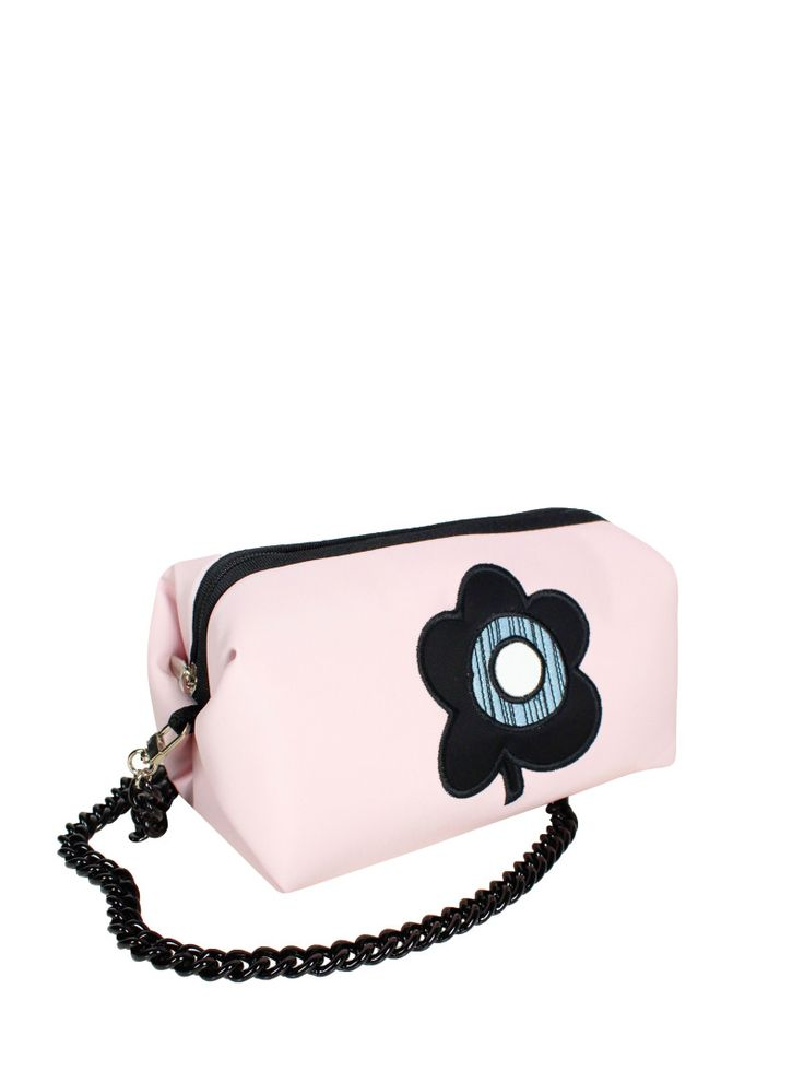 GOSHICO, ss2015, Little cross body bag, pastel pink + pop art flower. To download high or low resolution photos view Mondrianista.com (editorial use only).