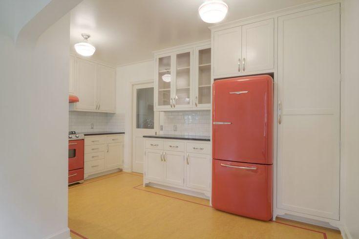 White Wooden Kitchen Cabinet Pink Refrigerator Mosaic Ceraic Backsplash Wooden Floor Cailing Light Gas Range Hood Brilliant Art Deco Kitchens
