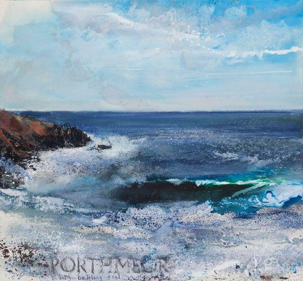Kurt Jackson: Big bottling seal in the surf. Porthmeor October 2012 Campden Gallery, fine art, Chipping Campden, camden gallery, contemporar...