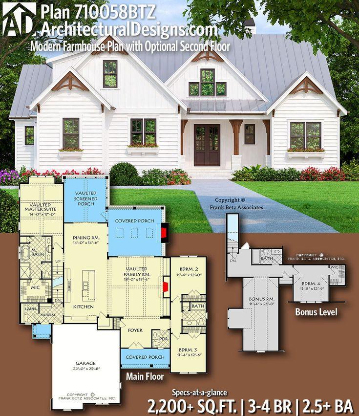 Plan 710058BTZ: Modern Farmhouse Plan with Optional Second Floor