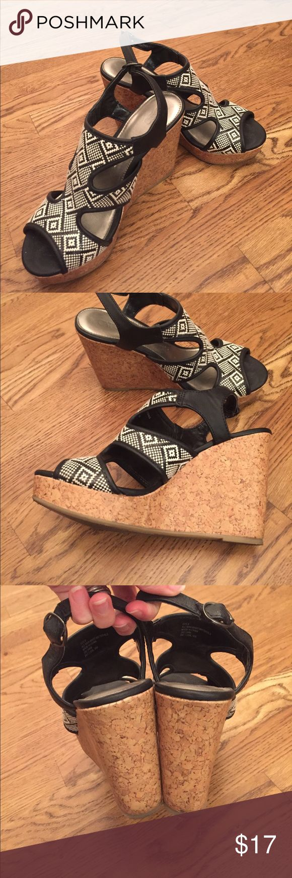 Cato Aztec Print Black & White Wedges Super cute Aztec Print black and white wedges from CATO.  Gently used but overall good condition.  Make me an offer!! Cato Shoes Wedges
